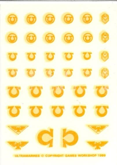 Ultramarines Yellow Transfer Sheet decals (1989)