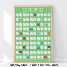 100 Places to go Bucket List - Scratch off Poster