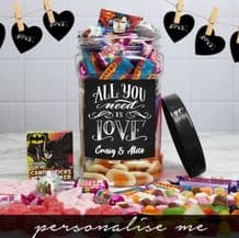 All You Need Is Love- Personalised Sweet Jar (Medium)