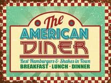 American Diner Metal Wall Sign (4 sizes)