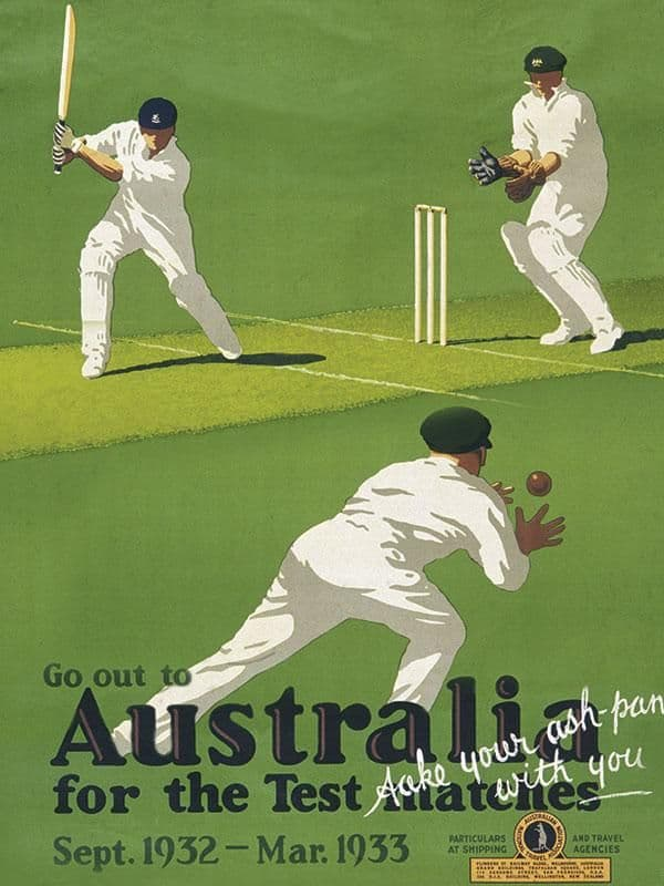 Ashes Cricket in Australia Metal Wall Sign | Gifts for Him | Man-cave art