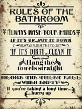 Bathroom Rules Metal Wall Sign (4 sizes)