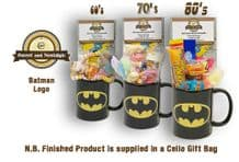 Batman Logo Mug with/without a KAPOW! selection of 60's , 70's or 80's retro sweets