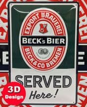 Beck Bier Sign 3D Metal Wall Sign