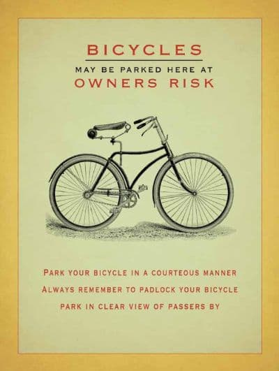 Bicycles parked at your own risk! Metal Wall Sign  | Man-Cave Art | Gifts for him