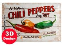 Chilli Peppers 3D Metal Wall Sign