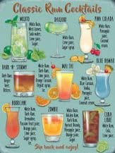Classic Rum Cocktails Metal Wall Sign (4 sizes)