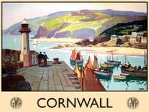 Cornwall Railway Poster (Harbour) Metal Wall Sign (3 sizes)