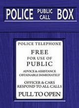 Doctor Who Police Box  Metal Wall Sign (4 sizes)