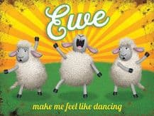 Ewe Sheep Dancing Metal Wall Sign (4 sizes)