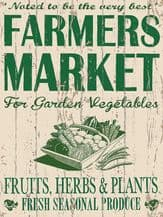 Farmers Market Metal Wall Sign (4 sizes)