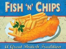 Fish n Chips Metal Wall Sign (4 sizes)