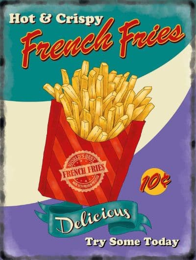 French Fries Retro Diner Metal Wall Sign    Retro Advertising Sign   Kitchen Art