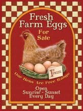 Fresh Farm Eggs For Sale Metal Wall Sign (4 sizes)
