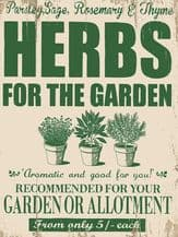 Garden Herbs Metal Wall Sign (4 sizes)