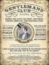 Gentleman's Club Metal Wall Sign (4 sizes)