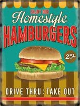 Hamburger Retro Diner Metal Wall Sign (4 sizes)