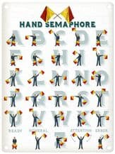 Hand Semaphore Signals Metal Wall Sign (4 sizes)