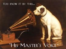 HMV Dog and Gramophone Metal Wall Sign (4 sizes)
