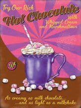 Hot Chocolate Retro Diner Metal Wall Sign (4 sizes)
