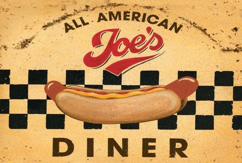 Joe's All American Diner Metal Wall Sign   Retro Advertising Sign   Kitchen Art