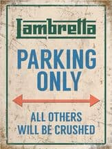 Lambretta Parking Only Metal Wall Sign (4 sizes)