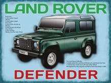 Land Rover Defender Metal Wall Sign (3 sizes)