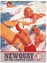 Newquay Railway Poster Metal Wall Sign (3 sizes)