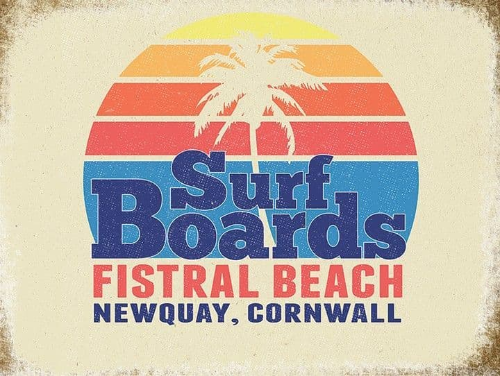 Newquay Surfing Metal Wall Sign | Gifts for Him | Home decorating idea