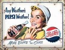 Pepsi Cola Any Weather Metal Wall Sign (4 sizes)