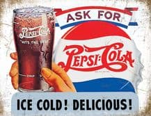 Pepsi Cola Ice Cold Metal Wall Sign (4 sizes)
