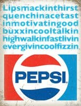 Pepsi Cola  Lipsmacking Metal Wall Sign (4 sizes)