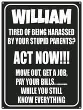 Personalised Act Now Metal Wall Sign (3 sizes)