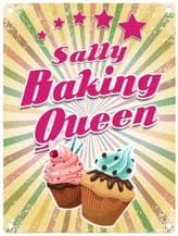 Personalised Baking Queen Metal Wall Sign (3 sizes)