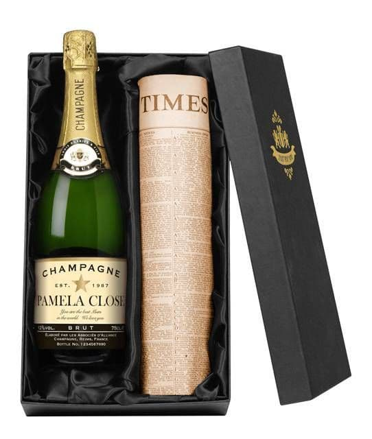 Personalised Champagne and Original Newspaper