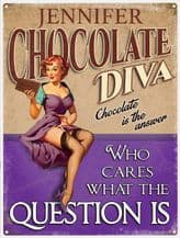 Personalised Chocolate Diva Metal Wall Sign (3 sizes)