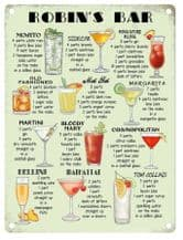 Personalised Cocktail Bar Metal Wall Sign (3 sizes)