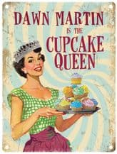 Personalised Cupcake Queen Metal Wall Sign (3 sizes)