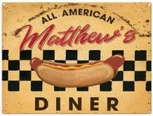 Personalised Diner Metal Wall Sign (3 sizes)