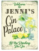 Personalised Gin Palace Metal Wall Sign (3 sizes)