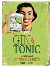 Personalised Gin Served Daily Metal Wall Sign (3 sizes)