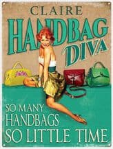 Personalised Handbag Diva Metal Wall Sign (3 sizes)