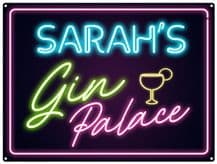 Personalised Neon Print Gin Palace Metal Wall Sign (3 sizes)