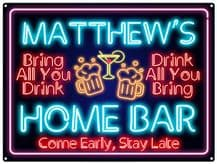 Personalised Neon Print Home Bar Metal Wall Sign (3 sizes)