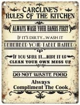Personalised Rules Of The Kitchen Metal Wall Sign (3 sizes)