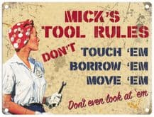 Personalised Tool Rules Metal Wall Sign (3 sizes)