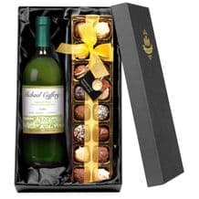 Personalised White Wine and Chocolates Gift Set