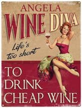 Personalised Wine Diva Metal Wall Sign (3 sizes)
