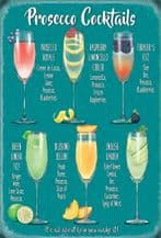 Prosecco Cocktail Recipes Metal Wall Sign (4 sizes)