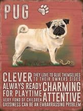 Pug Metal Wall Sign (4 sizes)